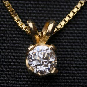 European-Cut Diamond Pendant on 14k Gold Chain